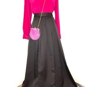 Style-work plated circle full long skirt black